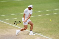 LONDON, ENGLAND - JULY 07: Rafael Nadal of Spain plays a shot in a practice session during Middle Sunday of The Championships - Wimbledon 2019 at All England Lawn Tennis and Croquet Club on July 07, 2019 in London, England. (Photo by Matthias Hangst/Getty Images)