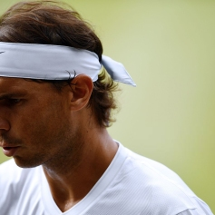 Spain's Rafael Nadal looks on during his men's singles semi-final match against Switzerland's Roger Federer on day 11 of the 2019 Wimbledon Championships at The All England Lawn Tennis Club in Wimbledon, southwest London, on July 12, 2019. (Photo by Daniel LEAL-OLIVAS / AFP) / RESTRICTED TO EDITORIAL USE (Photo credit should read DANIEL LEAL-OLIVAS/AFP/Getty Images)