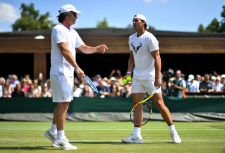 Rafael Nadal with coach Francisco Roig during a practice session on day ten of the Wimbledon Championships at the All England Lawn Tennis and Croquet Club, Wimbledon. (Photo by Victoria Jones/PA Images via Getty Images)