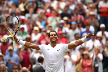 LONDON, ENGLAND - JULY 08: Rafael Nadal of Spain celebrates victory after his Men's Singles fourth round match against Joao Sousa of Portugal during Day Seven of The Championships - Wimbledon 2019 at All England Lawn Tennis and Croquet Club on July 08, 2019 in London, England. (Photo by Clive Brunskill/Getty Images)