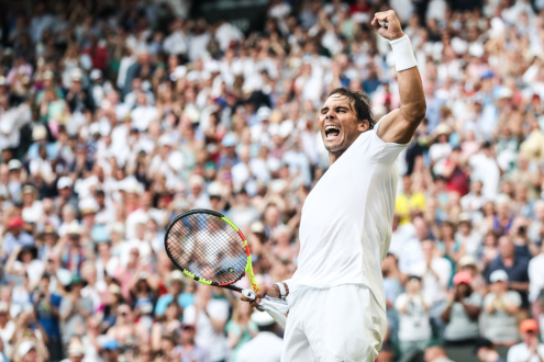 LONDON, ENGLAND - JULY 04: Rafael Nadal of Spain celebrates the victory after his Men's Singles second round match against Nick Kyrgios of Australia during Day four of The Championships - Wimbledon 2019 at All England Lawn Tennis and Croquet Club on July 04, 2019 in London, England. (Photo by Shi Tang/Getty Images)