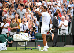 LONDON, ENGLAND - JULY 04: Rafael Nadal of Spain celebrates victory after his Men's Singles second round match against Nick Kyrgios of Australia during Day four of The Championships - Wimbledon 2019 at All England Lawn Tennis and Croquet Club on July 04, 2019 in London, England. (Photo by Mike Hewitt/Getty Images)