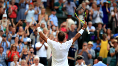 Rafael Nadal celebrates victory over Nick Kyrgios on day four of the Wimbledon Championships at the All England Lawn Tennis and Croquet Club, Wimbledon. (Photo by Adam Davy/PA Images via Getty Images)