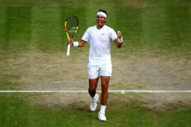 LONDON, ENGLAND - JULY 10: Rafael Nadal of Spain celebrates match point in his Men's Singles Quarter Final match against Sam Querrey of the United States during Day Nine of The Championships - Wimbledon 2019 at All England Lawn Tennis and Croquet Club on July 10, 2019 in London, England. (Photo by Clive Brunskill/Getty Images)