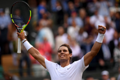 LONDON, ENGLAND - JULY 10: Rafael Nadal of Spain celebrates victory in his Men's Singles Quarter Final match against Sam Querrey of the United States during Day Nine of The Championships - Wimbledon 2019 at All England Lawn Tennis and Croquet Club on July 10, 2019 in London, England. (Photo by Laurence Griffiths/Getty Images)