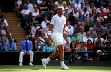 Rafael Nadal during his match against Nick Kyrgios on day four of the Wimbledon Championships at the All England Lawn Tennis and Croquet Club, Wimbledon. (Photo by Adam Davy/PA Images via Getty Images)