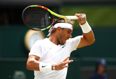 LONDON, ENGLAND - JULY 08: Rafael Nadal of Spain plays a forehand in his Men's Singles fourth round match against Joao Sousa of Portugal during Day Seven of The Championships - Wimbledon 2019 at All England Lawn Tennis and Croquet Club on July 08, 2019 in London, England. (Photo by Clive Brunskill/Getty Images)