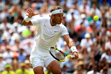 Rafael Nadal in action against Joao Sousa on day seven of the Wimbledon Championships at the All England Lawn Tennis and Croquet Club, Wimbledon. (Photo by Adam Davy/PA Images via Getty Images)