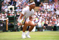 LONDON, ENGLAND - JULY 10: Rafael Nadal of Spain celebrates in his Men's Singles Quarter Final match against Sam Querrey of the United States during Day Nine of The Championships - Wimbledon 2019 at All England Lawn Tennis and Croquet Club on July 10, 2019 in London, England. (Photo by Laurence Griffiths/Getty Images)