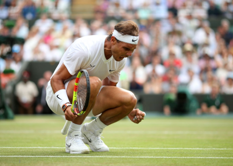 Rafael Nadal celebrates during his match against Sam Querrey on day nine of the Wimbledon Championships at the All England Lawn Tennis and Croquet Club, Wimbledon. (Photo by Steve Paston/PA Images via Getty Images)