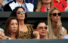 Xisca Perello, girlfriend of Rafael Nadal (left), Maria Isabel Nadal, sister on day eleven of the Wimbledon Championships at the All England Lawn Tennis and Croquet Club, Wimbledon. (Photo by Adam Davy/PA Images via Getty Images)