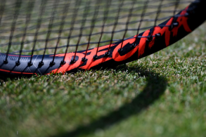 LONDON, ENGLAND - JULY 11: Detail of a racquet during Rafael Nadal of Spain practice session during Day Ten of The Championships - Wimbledon 2019 at All England Lawn Tennis and Croquet Club on July 11, 2019 in London, England. (Photo by Laurence Griffiths/Getty Images)
