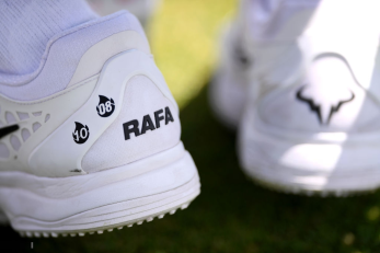 LONDON, ENGLAND - JULY 11: Detail of Rafael Nadal of Spain shoes during a practice session during Day Ten of The Championships - Wimbledon 2019 at All England Lawn Tennis and Croquet Club on July 11, 2019 in London, England. (Photo by Laurence Griffiths/Getty Images)