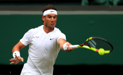 Rafael Nadal in action on day six of the Wimbledon Championships at the All England Lawn Tennis and Croquet Club, Wimbledon. (Photo by Mike Egerton/PA Images via Getty Images)