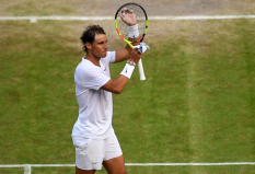 LONDON, ENGLAND - JULY 10: Rafael Nadal of Spain celebrates victory in his Men's Singles Quarter Final match against Sam Querrey of the United States during Day Nine of The Championships - Wimbledon 2019 at All England Lawn Tennis and Croquet Club on July 10, 2019 in London, England. (Photo by Clive Brunskill/Getty Images)