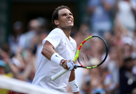 Rafael Nadal celebraets victory after his match against Sam Querrey on day nine of the Wimbledon Championships at the All England Lawn Tennis and Croquet Club, Wimbledon. (Photo by Steve Paston/PA Images via Getty Images)