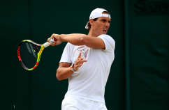 Rafael Nadal during a practice session on day nine of the Wimbledon Championships at the All England Lawn Tennis and Croquet Club, Wimbledon. (Photo by Mike Egerton/PA Images via Getty Images)