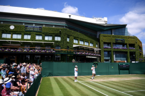 LONDON, ENGLAND - JULY 11: General view of Court 7 as Rafael Nadal of Spain practices during Day Ten of The Championships - Wimbledon 2019 at All England Lawn Tennis and Croquet Club on July 11, 2019 in London, England. (Photo by Laurence Griffiths/Getty Images)