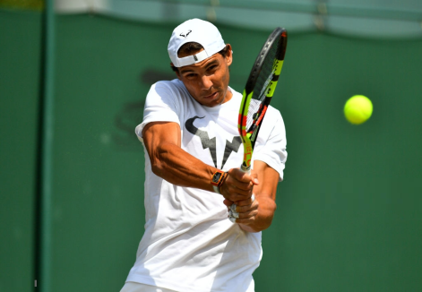 Rafael Nadal during a practice session on day ten of the Wimbledon Championships at the All England Lawn Tennis and Croquet Club, Wimbledon. (Photo by Victoria Jones/PA Images via Getty Images)