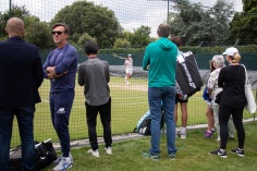 Spectators watch Rafael Nadal (ESP) practise on the Competitors' Practice Courts. The Championships 2019. Held at The All England Lawn Tennis Club, Wimbledon. Middle Sunday, Sunday 07/07/2019. Credit: AELTC/David Gray
