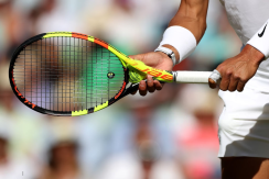 4th July 2019, The All England Lawn Tennis and Croquet Club, Wimbledon, England, Wimbledon Tennis Tournament, Day 4; A detail view of the racket and ball with Rafael Nadal (ESP) as he prepares to serve to Nick Kyrgios (AUS) (photo by Shaun Brooks/Action Plus via Getty Images)