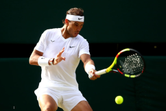 LONDON, ENGLAND - JULY 04: Rafael Nadal of Spain plays a forehand in his Men's Singles second round match against Nick Kyrgios of Australia during Day four of The Championships - Wimbledon 2019 at All England Lawn Tennis and Croquet Club on July 04, 2019 in London, England. (Photo by Clive Brunskill/Getty Images)