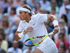 LONDON, ENGLAND - JULY 12: Rafael Nadal of Spain in action during his semi final defeat to Roger Federer of Switzerland on Day Eleven of The Championships - Wimbledon 2019 at All England Lawn Tennis and Croquet Club on July 12, 2019 in London, England. (Photo by Visionhaus/Getty Images)
