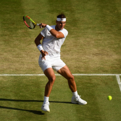 LONDON, ENGLAND - JULY 12: Rafael Nadal of Spain plays a forehand in his Men's Singles semi-final match against Roger Federer of Switzerland during Day eleven of The Championships - Wimbledon 2019 at All England Lawn Tennis and Croquet Club on July 12, 2019 in London, England. (Photo by Matthias Hangst/Getty Images)