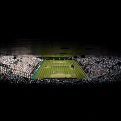 LONDON, ENGLAND - JULY 12: General view of centre court in the Men's Singles semi-final match between Roger Federer of Switzerland and Rafael Nadal of Spain during Day eleven of The Championships - Wimbledon 2019 at All England Lawn Tennis and Croquet Club on July 12, 2019 in London, England. (Photo by Mike Hewitt/Getty Images)