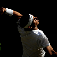 Rafael Nadal during his match against Roger Federer on day eleven of the Wimbledon Championships at the All England Lawn Tennis and Croquet Club, Wimbledon. (Photo by Adam Davy/PA Images via Getty Images)