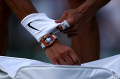 10th July 2019, The All England Lawn Tennis and Croquet Club, Wimbledon, England, Wimbledon Tennis Tournament, Day 9; Rafael Nadal (ESP) wears his Richard Mille watch (photo by Shaun Brooks/Action Plus via Getty Images)