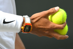 LONDON, ENGLAND - JULY 12: Rafael Nadal, watch detail, on Centre Court with his $725,000 Richard Mille watch during day eleven of the Wimbledon Tennis Championships at All England Lawn Tennis and Croquet Club on July 12, 2019 in London, England. (Photo by Karwai Tang/Getty Images)