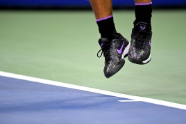 NEW YORK, NEW YORK - AUGUST 27: A view of the Nike tennis shoes worn by Rafael Nadal of Spain during his Men's Singles first round match against John Millman of Australia on day two of the 2019 US Open at the USTA Billie Jean King National Tennis Center on August 27, 2019 in the Flushing neighborhood of the Queens borough of New York City. (Photo by Emilee Chinn/Getty Images)