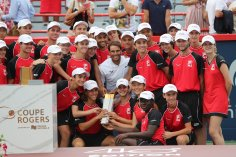 MONTREAL, QC - AUGUST 11: Rafael Nadal of Spain poses with ball boys and ball girls after his victory against Daniil Medvedev of Russia during the mens singles final on day 10 of the Rogers Cup at IGA Stadium on August 11, 2019 in Montreal, Quebec, Canada. Rafael Nadal of Spain defeated Daniil Medvedev of Russia 6-3, 6-0. (Photo by Minas Panagiotakis/Getty Images)