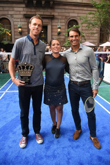 NEW YORK, NEW YORK - AUGUST 22: (L-R) Sam Querrey, Dylan Dreyer of the TODAY Show and Rafael Nadal attend the 2019 Palace Invitational at Lotte New York Palace on August 22, 2019 in New York City. (Photo by Jamie McCarthy/Getty Images for Lotte New York Palace)
