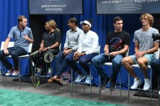 NEW YORK, NEW YORK - AUGUST 22: (L-R) Sam Querrey, Serena Williams, Rafael Nadal, Venus Williams, Mischa Zverev and Alexander Zverev attend the 2019 Palace Invitational at Lotte New York Palace on August 22, 2019 in New York City. (Photo by Jamie McCarthy/Getty Images for Lotte New York Palace)