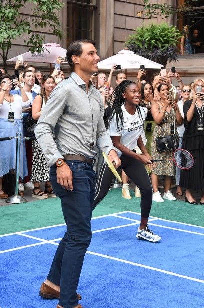 "NEW YORK, NEW YORK - AUGUST 22: Rafael Nadal and Cori ""Coco"" Gauff play badminton during the 2019 Palace Invitational at Lotte New York Palace on August 22, 2019 in New York City. (Photo by Jamie McCarthy/Getty Images for Lotte New York Palace)"