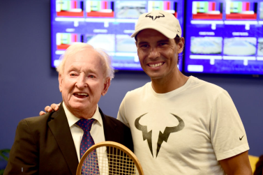NEW YORK, NEW YORK - Former Australian tennis player Rod Laver poses for a portrait with Rafael Nadal of Spain during Arthur Ashe Kids' Day at USTA Billie Jean King National Tennis Center on August 24, 2019 in New York City. (Photo by Emilee Chinn/Getty Images)