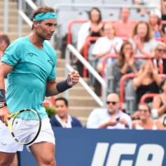MONTREAL, QC - AUGUST 07: Rafael Nadal of Spain celebrates a point against Daniel Evans of Great Britain during day 6 of the Rogers Cup at IGA Stadium on August 7, 2019 in Montreal, Quebec, Canada. (Photo by Minas Panagiotakis/Getty Images)
