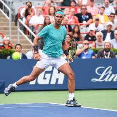 MONTREAL, QC - AUGUST 07: Rafael Nadal of Spain watches the ball passes him against Daniel Evans of Great Britain during day 6 of the Rogers Cup at IGA Stadium on August 7, 2019 in Montreal, Quebec, Canada. (Photo by Minas Panagiotakis/Getty Images)