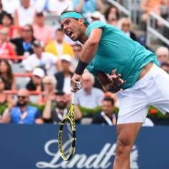 MONTREAL, QC - AUGUST 07: Rafael Nadal of Spain serves against Daniel Evans of Great Britain during day 6 of the Rogers Cup at IGA Stadium on August 7, 2019 in Montreal, Quebec, Canada. (Photo by Minas Panagiotakis/Getty Images)