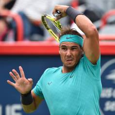 MONTREAL, QC - AUGUST 07: Rafael Nadal of Spain hits a return against Daniel Evans of Great Britain during day 6 of the Rogers Cup at IGA Stadium on August 7, 2019 in Montreal, Quebec, Canada. (Photo by Minas Panagiotakis/Getty Images)