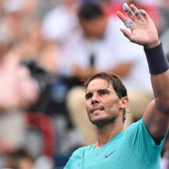 MONTREAL, QC - AUGUST 07: Rafael Nadal of Spain celebrates his 7-6, 6-4 victory over Daniel Evans of Great Britain during day 6 of the Rogers Cup at IGA Stadium on August 7, 2019 in Montreal, Quebec, Canada. (Photo by Minas Panagiotakis/Getty Images)