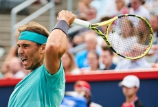 epa07765160 Rafael Nadal of Spain in action against Fabio Fognini of Italy during their quater-final match at the Rogers Cup tennis tournament in Montreal, Canada, 09 August 2019. EPA-EFE/VALERIE BLUM