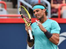 MONTREAL, QC - AUGUST 09: Rafael Nadal of Spain reacts as he loses a point against Fabio Fognini of Italy during day 8 of the Rogers Cup at IGA Stadium on August 9, 2019 in Montreal, Quebec, Canada. (Photo by Minas Panagiotakis/Getty Images)