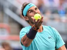 MONTREAL, QC - AUGUST 09: Rafael Nadal of Spain serves against Fabio Fognini of Italy during day 8 of the Rogers Cup at IGA Stadium on August 9, 2019 in Montreal, Quebec, Canada. (Photo by Minas Panagiotakis/Getty Images)