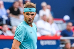 MONTREAL, QC - AUGUST 08: Rafael Nadal (ESP) looking straight at the camera during the ATP Coupe Rogers third round match on August 8, 2019 at IGA Stadium in Montréal, QC (Photo by David Kirouac/Icon Sportswire via Getty Images)