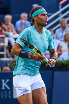 MONTREAL, QC - AUGUST 08: Rafael Nadal (ESP) tracks his opponent move during the ATP Coupe Rogers third round match on August 8, 2019 at IGA Stadium in Montréal, QC (Photo by David Kirouac/Icon Sportswire via Getty Images)