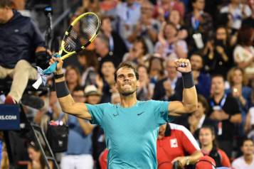 MONTREAL, QC - AUGUST 08: Rafael Nadal of Spain celebrates as he defeats Guido Pella of Argentina 6-3, 6-4 during day 7 of the Rogers Cup at IGA Stadium on August 8, 2019 in Montreal, Quebec, Canada. (Photo by Minas Panagiotakis/Getty Images)