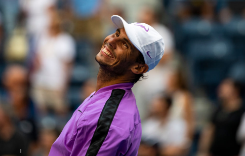 NEW YORK, NEW YORK - AUGUST 31: Rafael Nadal of Spain hits autographed balls into the crowd after his victory over Hyeon Chung of South Korea in the third round on Arthur Ashe Stadium at the USTA Billie Jean King National Tennis Center on August 31, 2019 in New York City. (Photo by TPN/Getty Images)